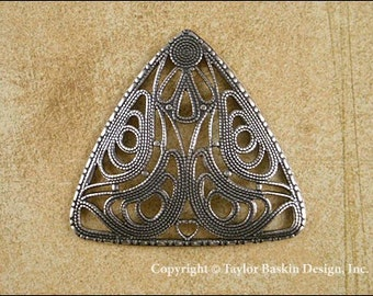 Antique Sterling Silver Plated Victorian Filigree Pendant, Angel Body or Barrette Component (item 103 AS) - 3 Pieces