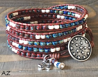 4Th OF JULY/  Seed Bead Leather Wrap Bracelet For Women/ Independence Day Leather Bracelet/ Beaded Wrap Bracelet/ Patriotic Wrap Bracelet.