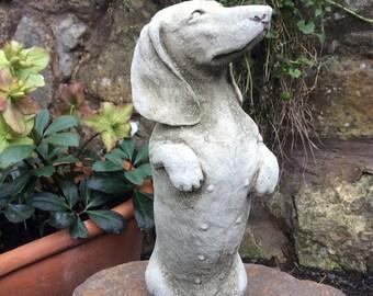 New Dachshund Sausage Dog Stone Garden Statue Ornament Sculpture Memorial