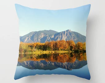 Throw Pillow Case, Mt Si, Mountain Reflection, Rustic Home Decor, Nature Photography by RDelean Designs