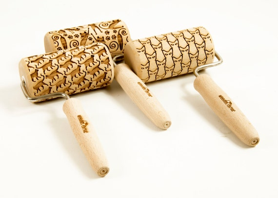 CHOOSE ANY 3 of all our patterns - Set of 3 One handle or MIDI rolling pins