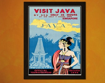 Java Travel Print 1930s - Vintage Travel Poster Indonesia Poster Art Reproduction Home Decor Vintage Java Poster  t