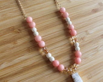 Pink Stone Druzy Necklace, Long Layering Necklace, Long Druzy Necklace, Druzy Necklace, Druzy Jewelry, Long Beaded Necklace