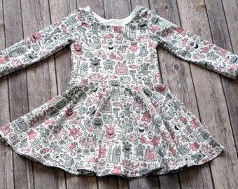 Monster Dress. Pink Monster Dress. Halloween Dress. Trick or Treat Dress. Toddler Dress. Little Girl Dress. Twirl Dress. Play Dress.