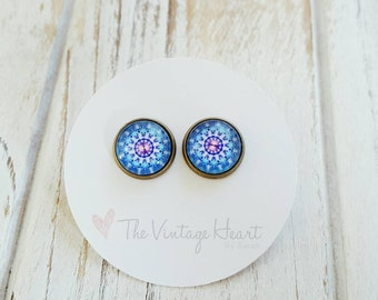 Bohemian Stud Earrings, Mandala Stud Earrings, Boho Earrings, Bohemian Earrings, Mandala Earrings, gift for her, bridesmaid gift