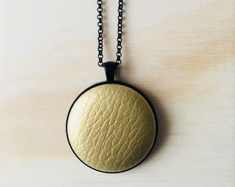 38mm Gold Shimmer Faux Leather Fabric Button Pendant Necklace • 76cm Black Rolo Chain with Lobster Clasp • Nickel Free • Leatherette