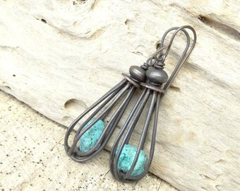 Caged Rough Turquoise Nugget Copper Earrings Rustic Artisan Earthy One Of A Kind Gift For Her