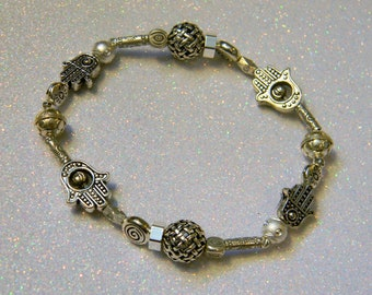 Silver Hamsa Bead Bracelet with Bali, Hill Tribe and Sterling Beads