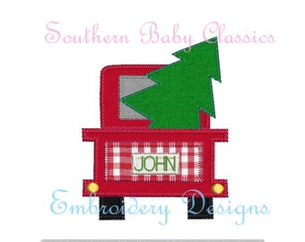 Christmas Tree Truck Vintage Applique Blanket Quick Stitch Design File for Embroidery Machine Instant Download Present