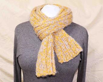 Hand Knit Scarf Golden Yellow and Soft Fluffy Light Lavendar