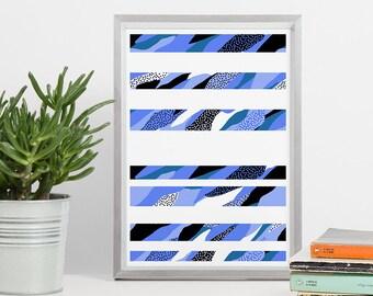 Printable Wall Art - Stripes Abstract Blue