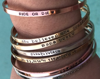 She Believed She Could So She Did Bracelet For Women Personalized Mama Bear Bracelet Graduation Gift For Daughter Silver Cuff Bracelet