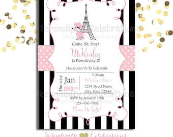 Paris Birthday Invitation, Baby Shower Invitation, Birthday Invite, Eiffel Tower Invite, Pink black White invite, Puppy in Paris Invitation