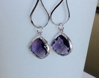 Bridesmaid purple earrings, Purple Bridesmaid Earrings, Bridesmaid Git
