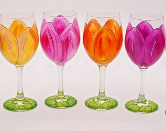 Floral - Hand Painted Tulip Wine Glasses - Perfect for Every Day