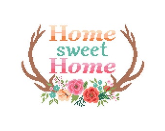 Modern Cross Stitch Pattern Home Sweet Home cross stitch Floral Antler theme Deer Antlers cross stitch Stag Antlers cross stitch pattern
