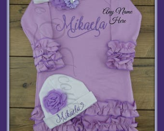 Baby girl, coming home outfit, Personalized, baby gown, monogram, name, initial, bring home outfit, pajamas, clothes, outfit, baby shower