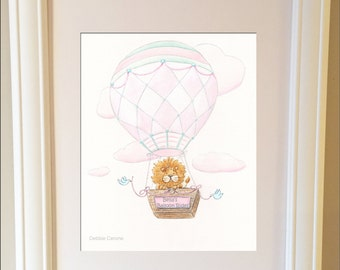 Baby Girl Nursery Personalized Art,  Pink Travel Theme Hot Air Balloon Nursery Wall Art, Lion Baby Shower Gift, Choose Girls Name, 6 Sizes