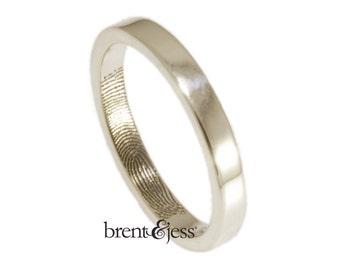 Narrow 3mm Fingerprint Wedding Ring with Wrapped Print on the Inside - Sterling Silver Fingerprint Ring