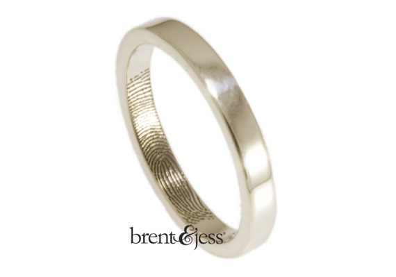 Narrow 3mm Fingerprint Wedding Ring with Wrapped Print on the