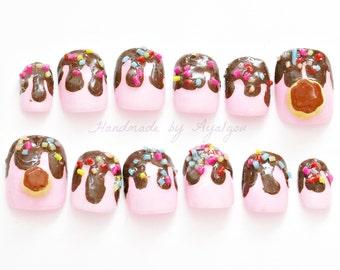 Kawaii nails, fairy kei, 3D nails, deco nails, lolita, pudding, flan, dripping, chocolate, fake sweets, Japanese nail art