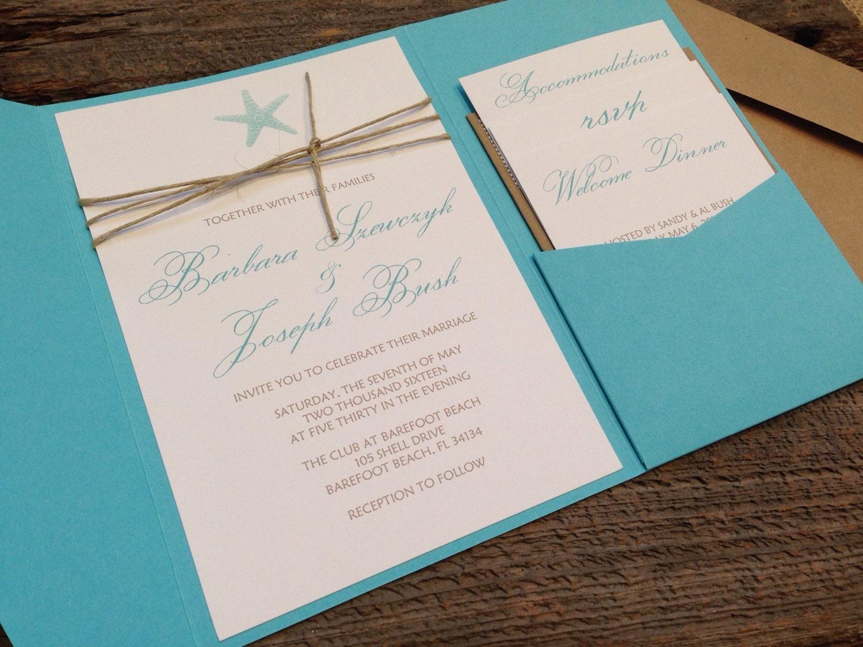 Starfish Wedding Invitation Kit: Beach Wedding Invitation Set Pocket Wedding Invitation