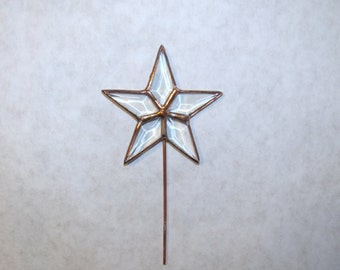Feather Tree Topper, Clear Beveled Glass Star, Tiniest Rustic Tree Topper