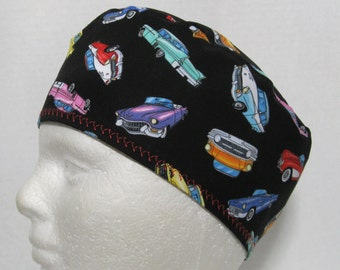 Mens Scrub Hat, Surgical Cap or Skull Cap with Classic Cars