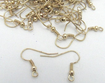 50pr Antique Goldtone Earwires with Ball and Spring (B5b3)