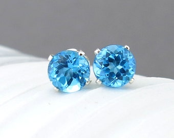 Swiss Blue Topaz Stud Earrings Small Silver Earrings December Birthstone Gemstone Post Earrings 6mm Silver Jewelry Handmade Jewelry