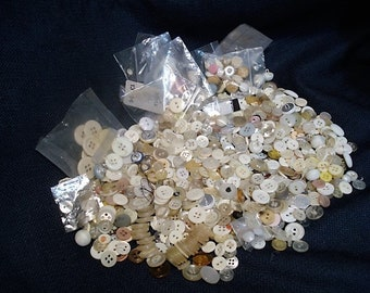 Vintage Assortment of Mostly White Buttons Bag #1 Contains 100's, bone, shell...