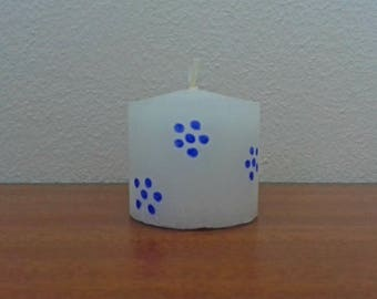 Blue Floral Candle