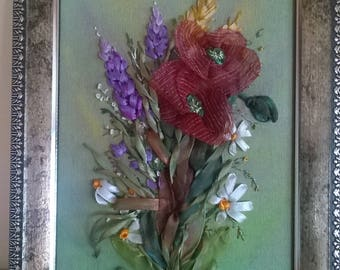 Emlroidered picture.Embroidery with satin ribbons,Gift for Christmas.Field flowers,
