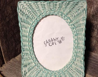 21 - Picture Frame - Wicker - 5 x7 opening - Shabby Chic - Cottage - Wedding - Beach -  - Home Decor - Gift Idea -Sea Glass - Distressed-TTR
