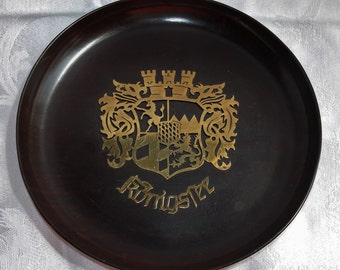 Vintage Sanenwood Plate -Gerling Sol-Ohligs Foreign -Rare Collectible Plate -Bavaria -Germany -Souvenir- Konigssee -Brass -Wood -Wall Decor