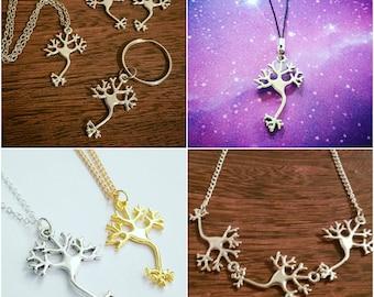 Neuron Jewelry Keychain Necklace Bracelet Anklet Earrings Badge Collar Pins Charm Bookmark Chemistry Biology Neuroscience Psychology Jewelry