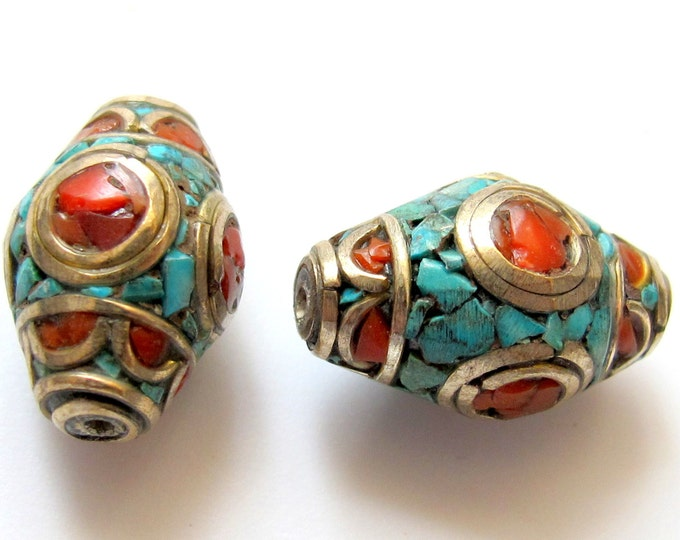Bicone nepal bead with turquoise coral inlay - BD236 - 1 bead