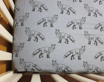 Fox Sketch  -Baby/ Toddler Crib Sheet-Fitted Crib Sheet-Sheets- Bedding-Nursery-