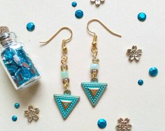 50) Earrings Boho Triangle