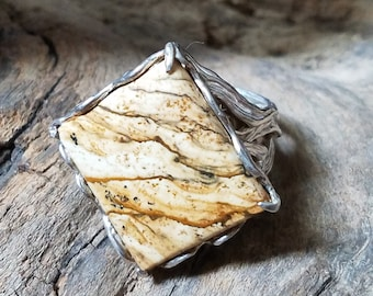 Picture Jasper, Sterling Silver Ring