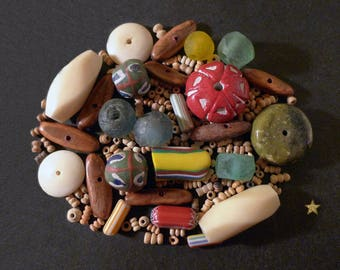 African beads, glass, seed, bone, stone and terracotta