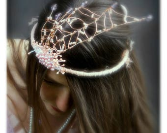 One of a kind bohemian wedding tiara. Handmade in rose pink, rose gold and purple with crystal beads and raw silk ribbon. Ethereal tiara.