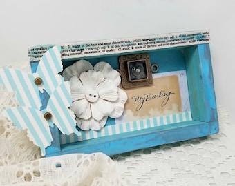 Small Blue Shadowbox - Small Butterfly Shadowbox - Blue Romantic Shadowbox - Small Vintage Style Shadowbox - Blue Mixed Media Shadowbox