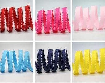 """6 color  10 mm. Saddle Stitch Grosgrain Ribbon /3/8"""" Saddle Stitch Grosgrain Ribbon"""