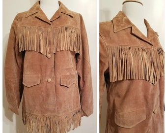 Tan Suede Fringe Jacket . Womens size Small