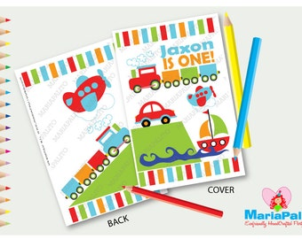6 Transportation Coloring Books, Personalized Coloring Books, Birthday Party Favors, Boy Party  A1103