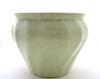 Lime Green Speckled BAUER SWIRL JARDINIERE Garden Florist Pottery