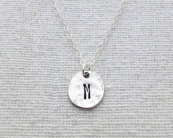 Silver Initial Necklace - Sterling Silver Custom Hand Stamped Jewelry - Hammered Circle Charm - Letter Number Disc - Engraved Pendant Gift