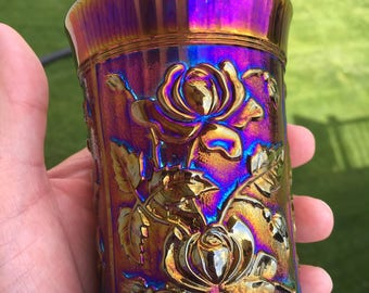 Imperial Purple Lustre Rose Carnival Glass Tumbler