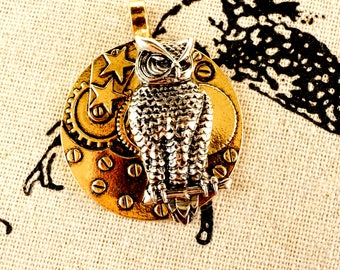 Steampunk cogs and owl charm antique silver & gold vintage style pendant jewellery supplies C270